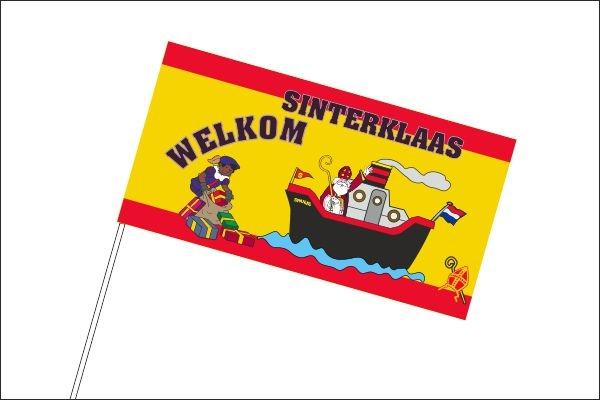 Sinterklaas en Zwarte Piet zwaaivlaggetjes welkom