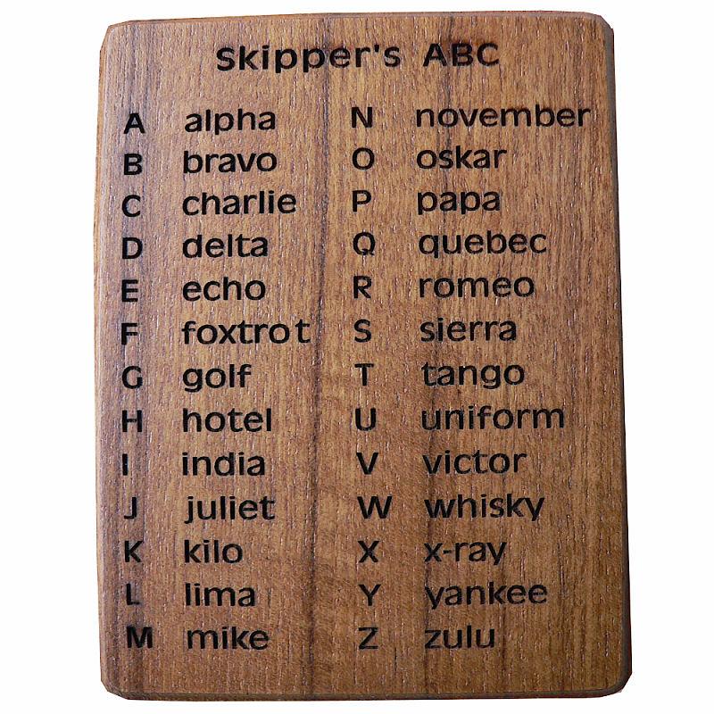 Alfabet Marifonie plaat teak