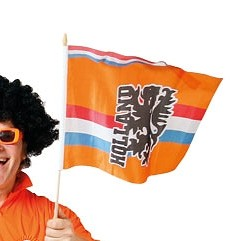 Zwaaivlag Oranje Holland 30x40cm