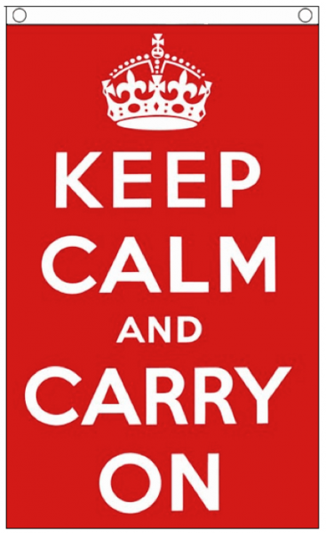 Vlag rood met tekst keep calm en carry on 90x150cm