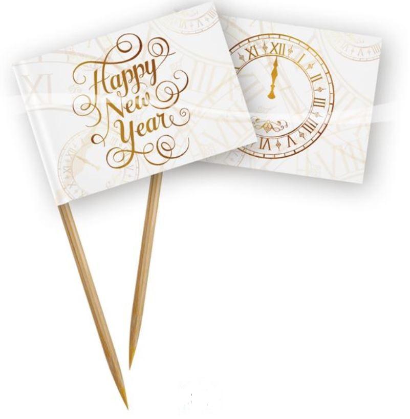 Cocktailprikkers Happy New Year Klok 50 stuks