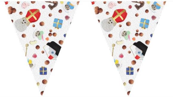 Vlaggenlijn Sinterklaas pepernoten wit wimpels