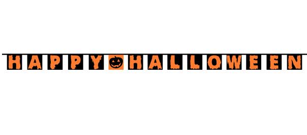 Halloween vlaggenlijn happy halloween 20x20cm - 5,4meter