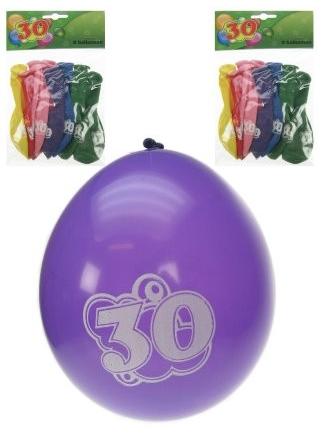 verjaardag ballonnen met tekst 30 jaar erop. 8 verschillende kleuren