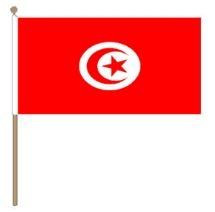 Tunesische zwaaivlag Tunesië 30x45cm, stoklengte 60cm