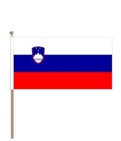 Zwaaivlag Slovenië, Sloveense vlag 30x45cm, stoklengte 60cm
