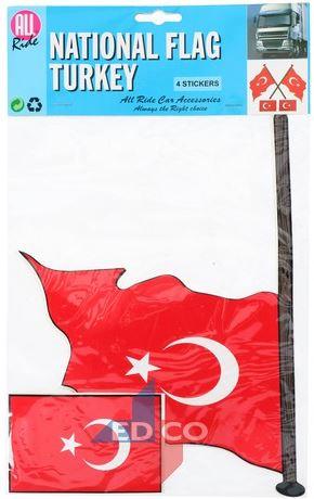 Stickers Turkse vlag Turkije 4 stuks (2 varianten)