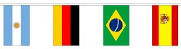Pavoiseerlijn van stof met 32 verschillende internationale landen vlaggen