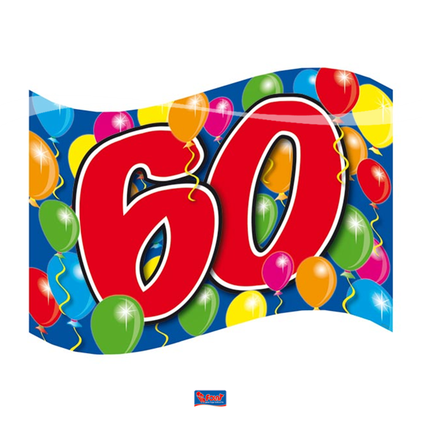 Vlag 60 90x60cm voor iedereen die 60 jaar is geworden
