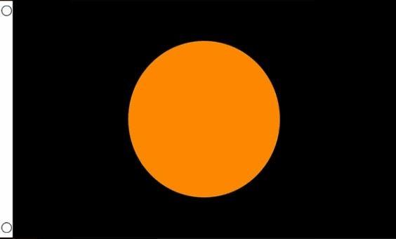 Racevlag zwart met oranje cirkel 60x90cm Best Value
