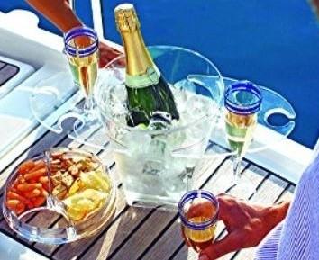 Champagne koeler cadeau set met snack en glazen houder
