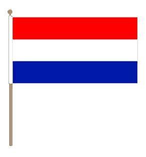 Zwaaivlag Nederland XXL rood/wit/blauw 90x150cm met stok van 135cm