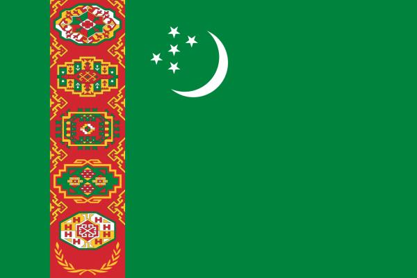 Vlag Turkmenistan 100x150cm Glanspoly