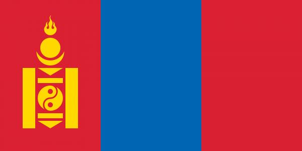 Vlag Mongolie 100x150cm Glanspoly