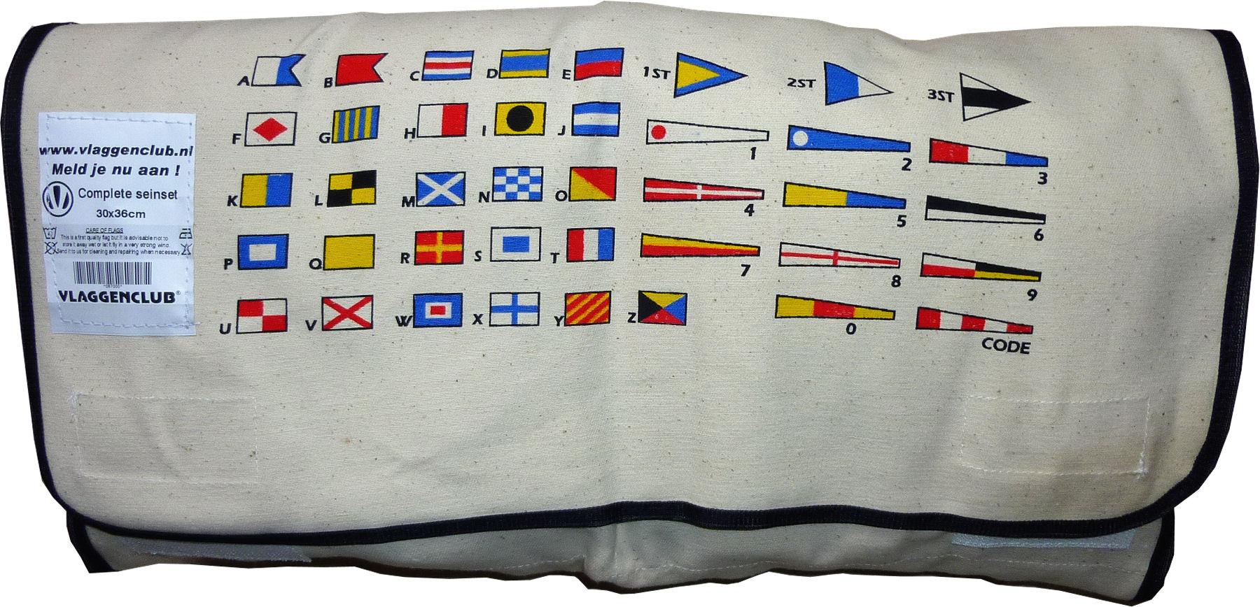 Canvastas voor seinvlaggen Borduren met scheepsnaam