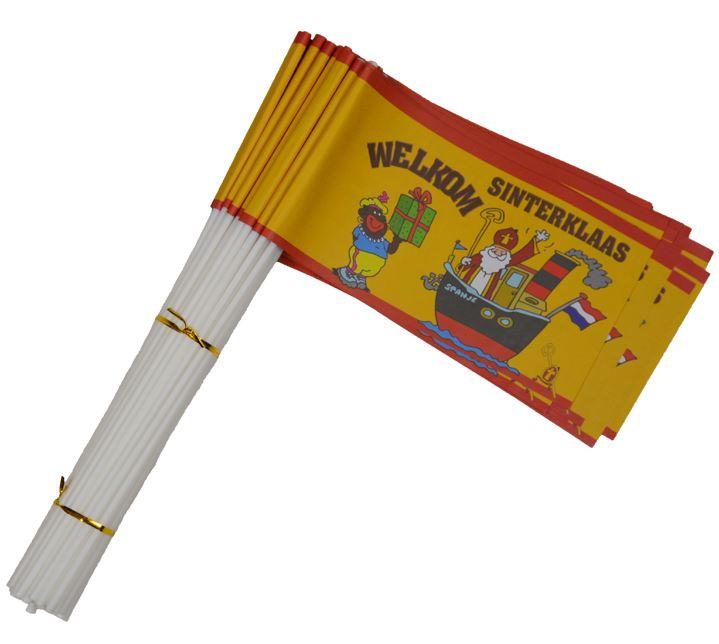 Sinterklaas zwaaivlaggetjes papier met de Sint, Piet en Stoomboot