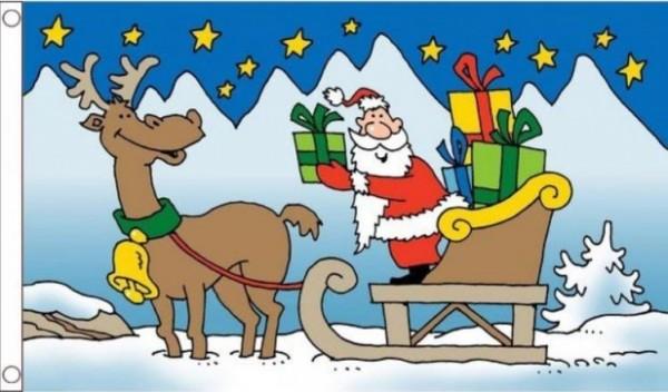 Vlag Kerst kerstlee met rendier en kerstman
