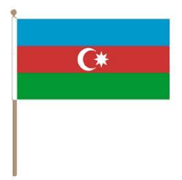Zwaaivlag Azerbeidzjan, Azerbeidzjaanse zwaaivlag 30x45cm, stoklengte 60cm