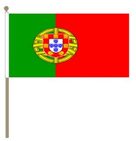 zwaaivlag Portugal, Portugese zwaaivlag 15x22,5cm,stoklengte 30cm