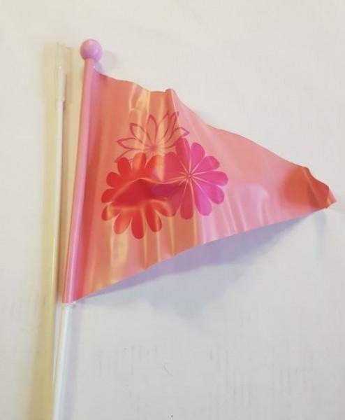 Fietsvlag kinderfiets, roze wimpel met bloemen