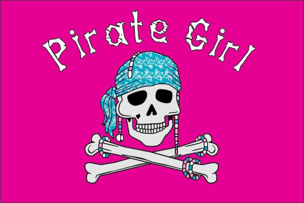 Pirate Girl Piraten vlag 50x75cm