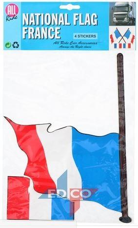Vlag sticker Frankrijk 4 stuks, 2 varianten
