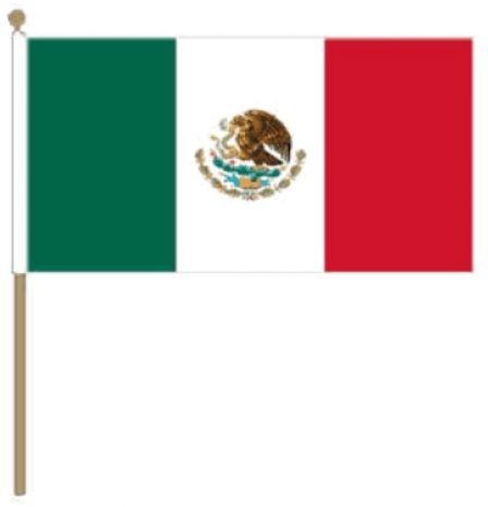 Zwaaivlag Mexico, Mexicaanse fanvlag 15x22,5cm, stoklengte 30cm