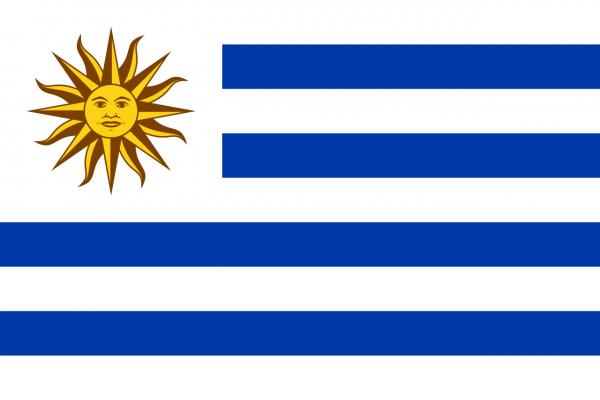Tafelvlag Uruguay met standaard