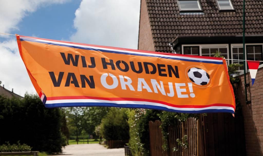 Wij houden van Oranje voetbal spandoek banner EK   WK
