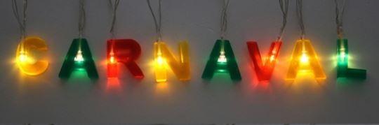 Letterslinger CARNAVAL Rood-Geel-Groen met verlichting