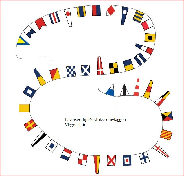Pavoiseerlein met alle 40 stuks seinvlaggen voor uw bootshow
