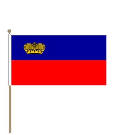 Zwaaivlag Liechtenstein, Liechtensteinse fanvlag 30x45cm stoklengte 60cm