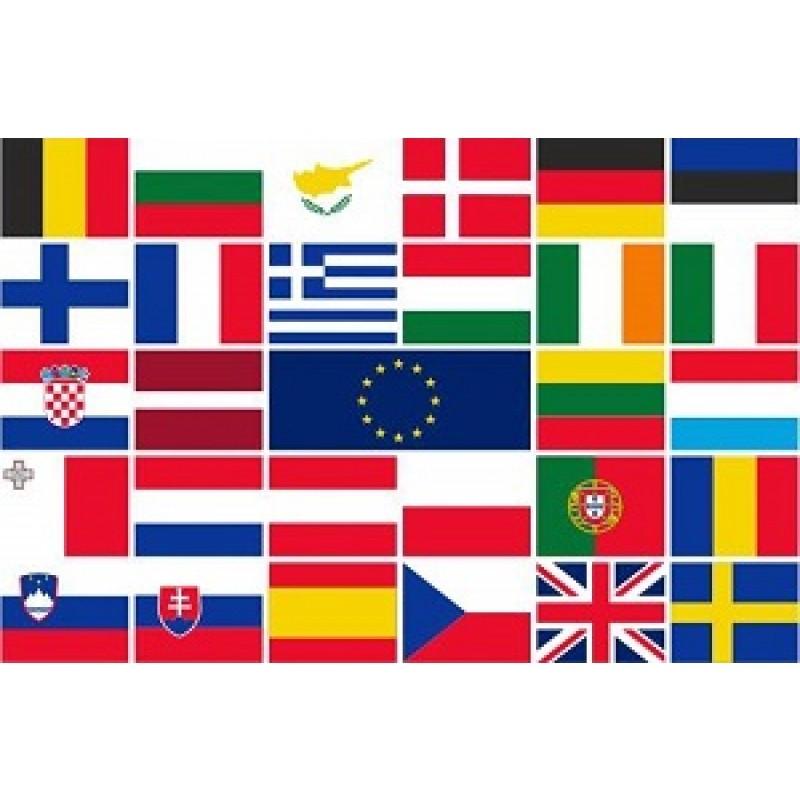 Tafelvlaggen Europese unie landenset 28 stuks 10x15cm