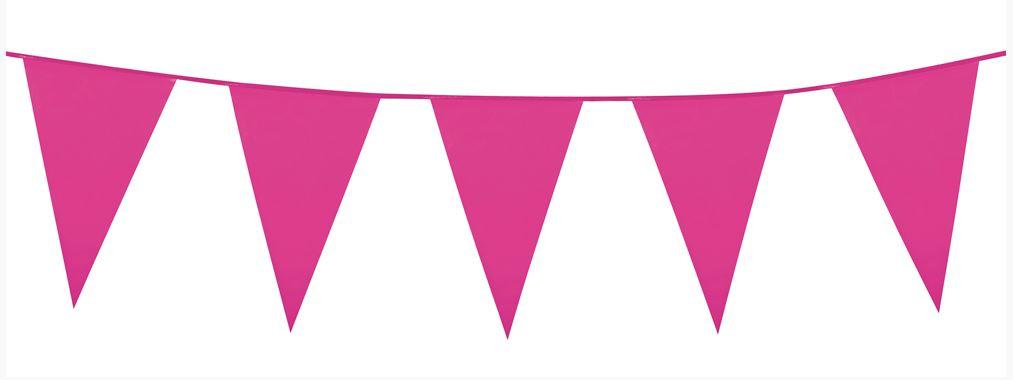 Vlaggenlijn knalroze, hot pink wimpellijn 10m