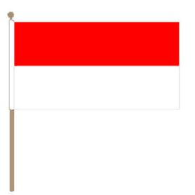 Zwaaivlag Indonesië 30x45cm, stoklengte 60cm