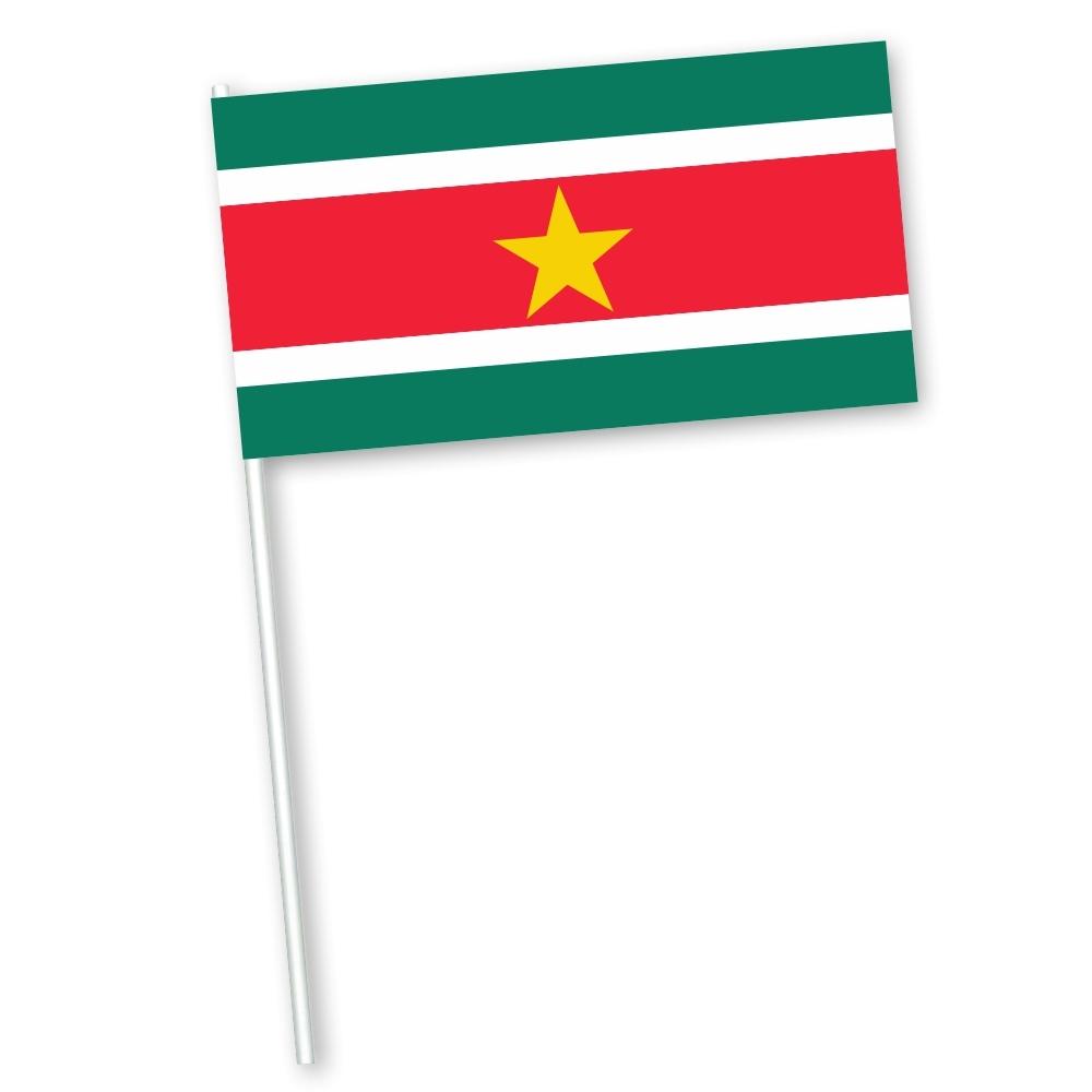 Surinaamse zwaaivlag met vlag Suriname