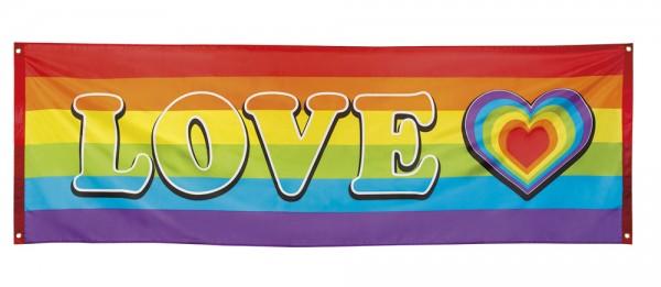 Spandoek banner 74x220cm Regenboog met Love Hartje