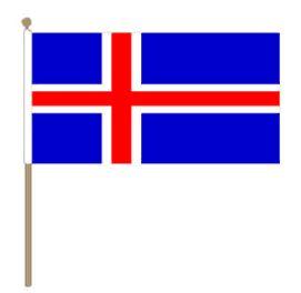 Zwaaivlag IJsland, ijslandse zwaaivlaggen 15x22,5cm, stoklengte 30cm