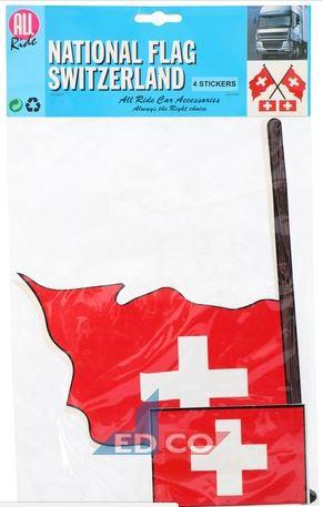 Stickers Zwitserse vlag Zwitserland 4 stuks (2 varianten)