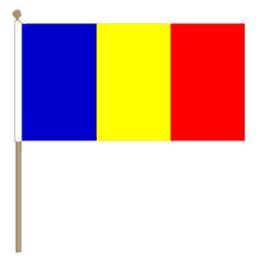 Zwaaivlag Roemenië, Roemeense zwaaivlag 30x45cm, stoklengte 60cm