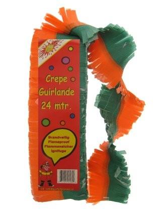 Draaiguirlande Oranje Groen feestversiering 24m brandvertragend