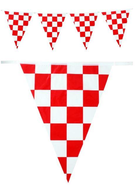 Vlaggenlijn Brabants Bont rood/wit geblokt 10m PE