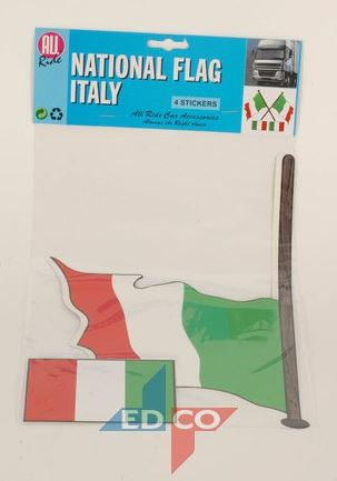 Italiaanse vlag stickers 4 stuks (2 varianten)