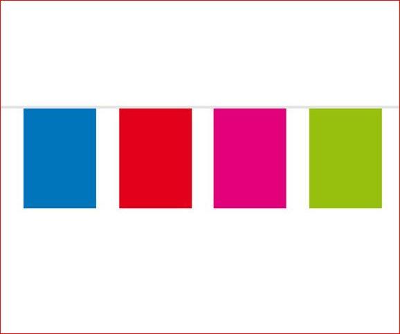 Vlaggenlijn vrolijke kleuren vierkante vlaggen 10m