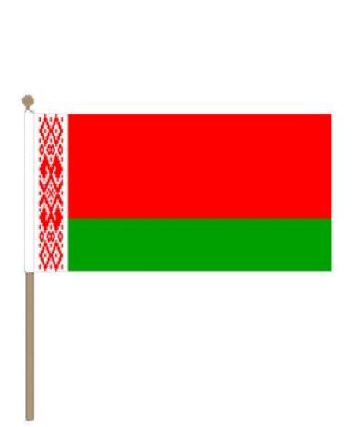 Zwaaivlag Wit Rusland, Wit Russische zwaaivlag 15x22,5cm stoklengte 30cm