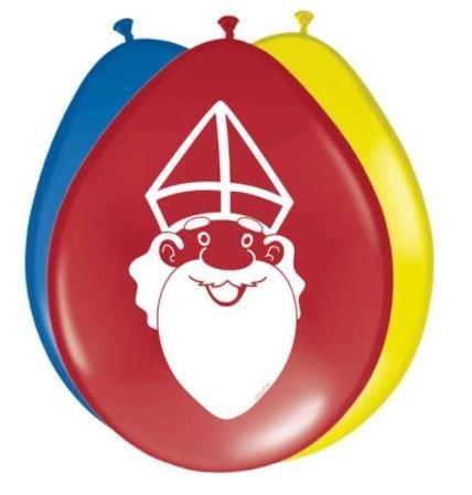 Sinterklaas ballonnen 8 stuks in drie vrolijke kleuren