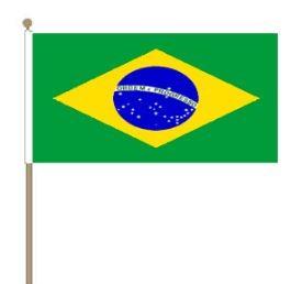 Zwaaivlag Brazilië, Braziliaanse fanvlag 15x22,5cm, stoklengte 30cm