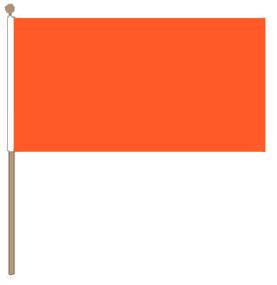 Zwaaivlag oranje 15x22,5cm met stok van 30cm