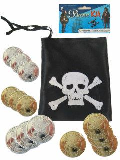 Piraten buidel met gouden en zilveren ducaten