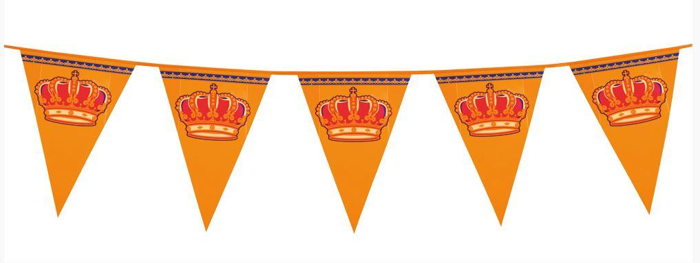 Oranje vlaggenlijn met kroon XL 8m